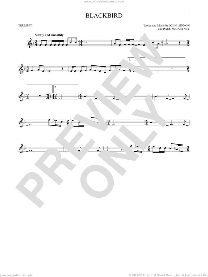 Blackbird sheet music for trumpet solo by The Beatles, Wings, John Lennon and Paul McCartney, intermediate skill level