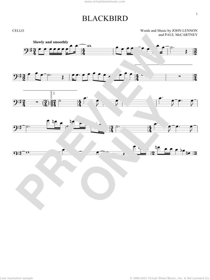Blackbird sheet music for cello solo by The Beatles, Wings, John Lennon and Paul McCartney, intermediate skill level
