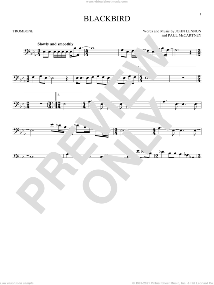 Blackbird sheet music for trombone solo by The Beatles, Wings, John Lennon and Paul McCartney, intermediate skill level