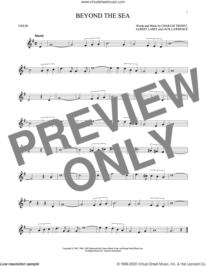 Beyond The Sea sheet music for violin solo by Bobby Darin, Roger Williams, Albert Lasry, Charles Trenet and Jack Lawrence, intermediate skill level