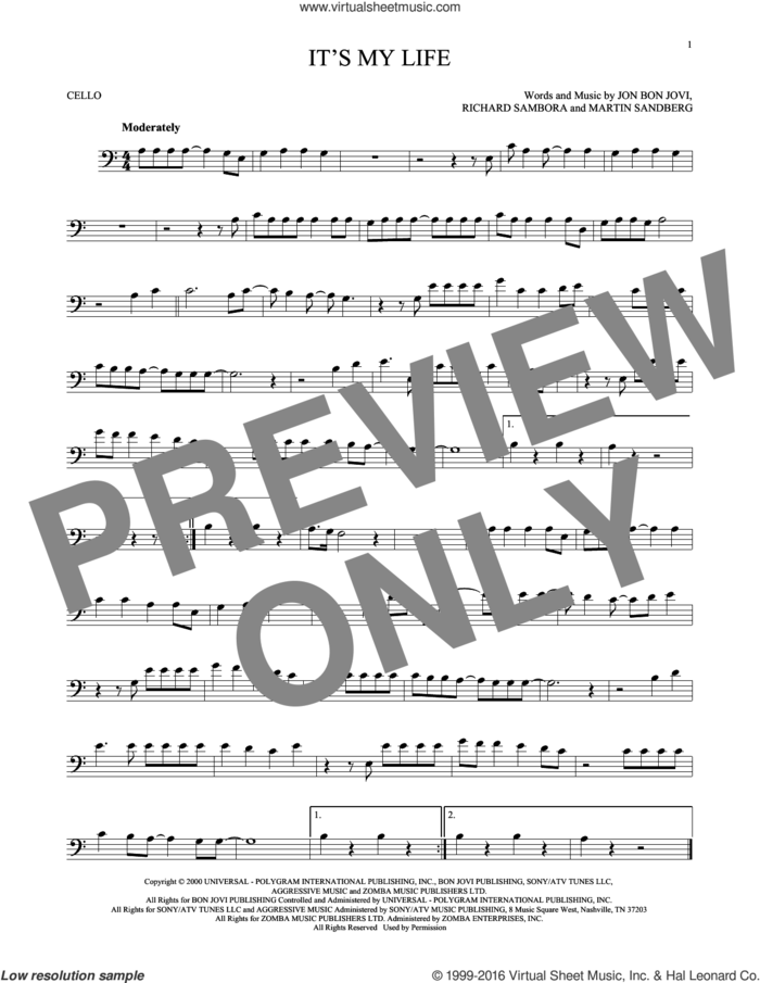 It's My Life sheet music for cello solo by Bon Jovi, Martin Sandberg and Richie Sambora, intermediate skill level