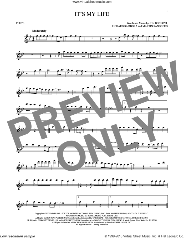 It's My Life sheet music for flute solo by Bon Jovi, Martin Sandberg and Richie Sambora, intermediate skill level