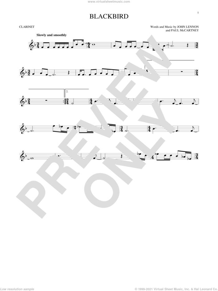 Blackbird sheet music for clarinet solo by The Beatles, Wings, John Lennon and Paul McCartney, intermediate skill level