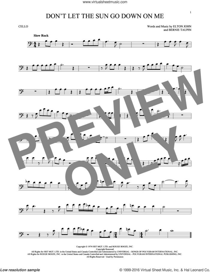 Don't Let The Sun Go Down On Me sheet music for cello solo by Elton John & George Michael, David Archuleta, Bernie Taupin and Elton John, intermediate skill level
