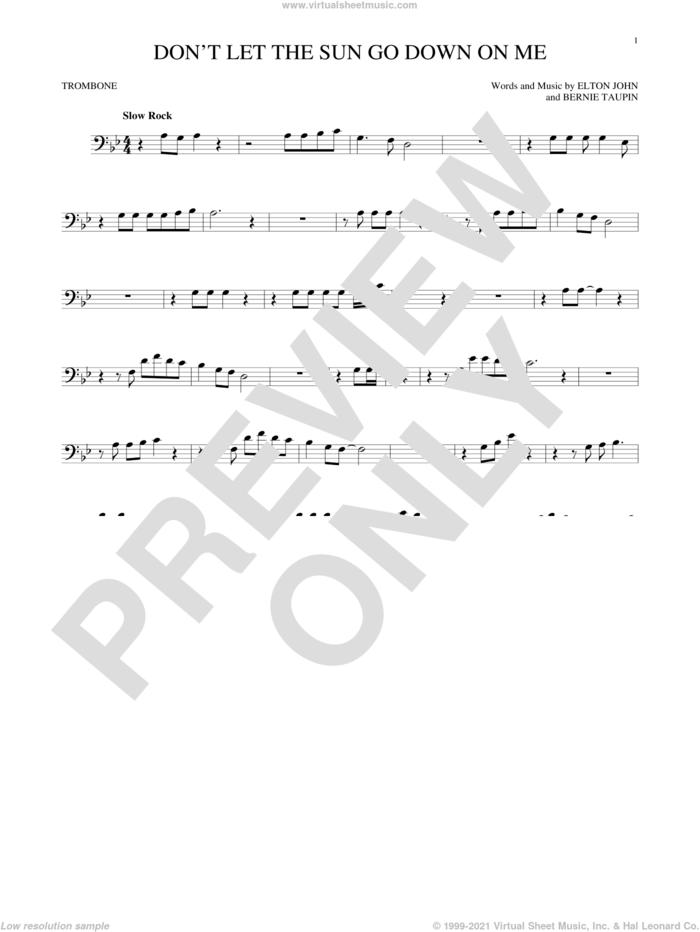 Don't Let The Sun Go Down On Me sheet music for trombone solo by Elton John & George Michael, David Archuleta, Bernie Taupin and Elton John, intermediate skill level