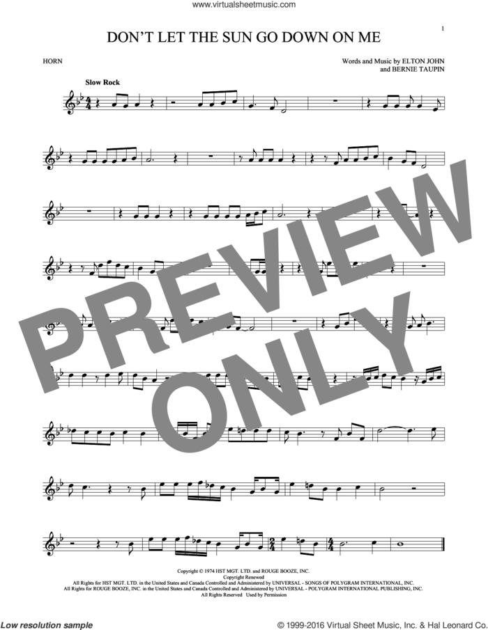 Don't Let The Sun Go Down On Me sheet music for horn solo by Elton John & George Michael, David Archuleta, Bernie Taupin and Elton John, intermediate skill level