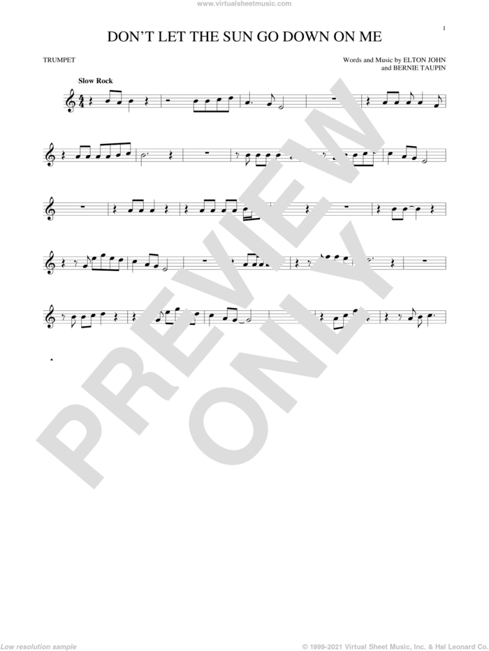 Don't Let The Sun Go Down On Me sheet music for trumpet solo by Elton John & George Michael, Bernie Taupin and Elton John, intermediate skill level