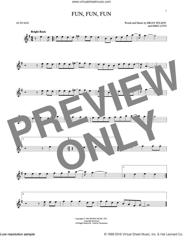Fun, Fun, Fun sheet music for alto saxophone solo by The Beach Boys, Brian Wilson and Mike Love, intermediate skill level