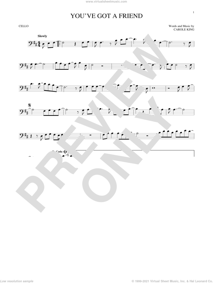 You've Got A Friend sheet music for cello solo by James Taylor and Carole King, intermediate skill level