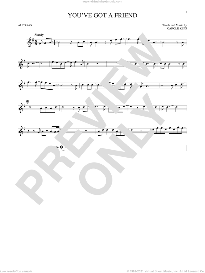 You've Got A Friend sheet music for alto saxophone solo by James Taylor and Carole King, intermediate skill level