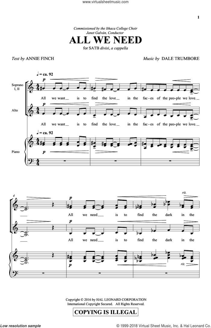 All We Need sheet music for choir (SATB: soprano, alto, tenor, bass) by Dale Trumbore and Annie Finch, intermediate skill level