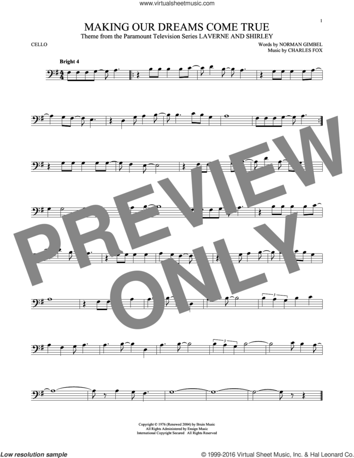 Making Our Dreams Come True sheet music for cello solo by Norman Gimbel, Charles Fox and Norman Gimbel & Charles Fox, intermediate skill level
