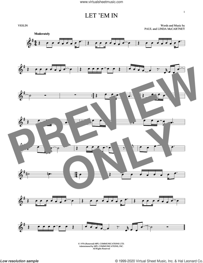 Let 'Em In sheet music for violin solo by Wings, Linda McCartney and Paul McCartney, intermediate skill level
