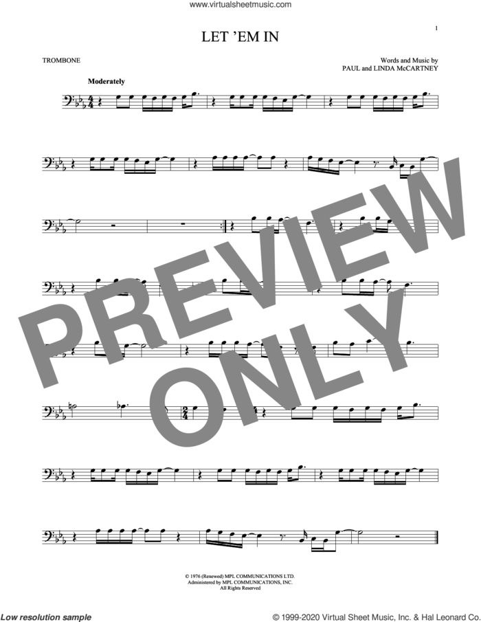 Let 'Em In sheet music for trombone solo by Wings, Linda McCartney and Paul McCartney, intermediate skill level