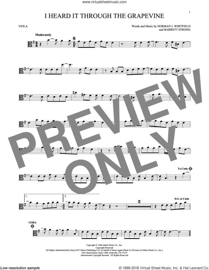 I Heard It Through The Grapevine sheet music for viola solo by Norman Whitfield, Barrett Strong and Norman Whitfield & Barrett Strong, intermediate skill level