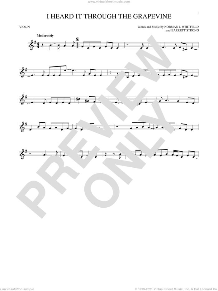 I Heard It Through The Grapevine sheet music for violin solo by Norman Whitfield, Barrett Strong and Norman Whitfield & Barrett Strong, intermediate skill level