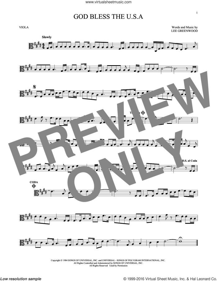 God Bless The U.S.A. sheet music for viola solo by Lee Greenwood, intermediate skill level