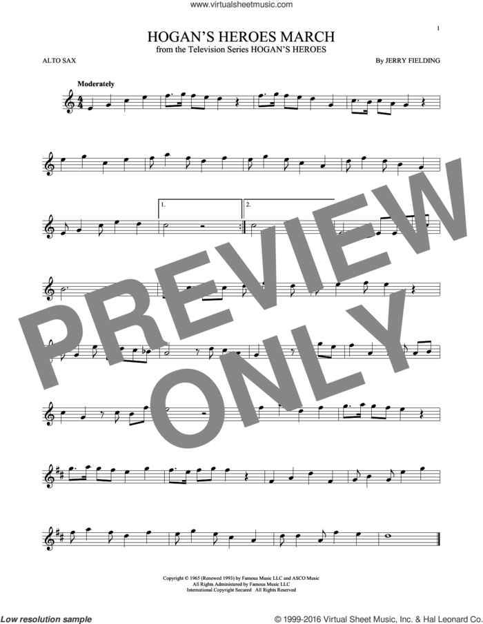 Hogan's Heroes March sheet music for alto saxophone solo by Jerry Fielding, intermediate skill level