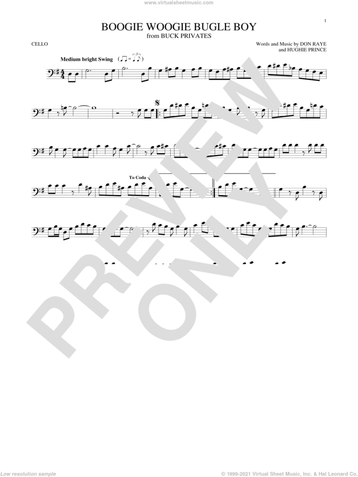 Boogie Woogie Bugle Boy sheet music for cello solo by Andrews Sisters, Bette Midler, Don Raye and Hughie Prince, intermediate skill level