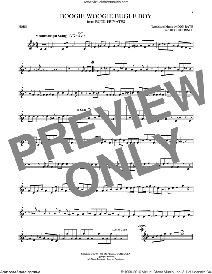 Boogie Woogie Bugle Boy sheet music for horn solo by Andrews Sisters, Bette Midler, Don Raye and Hughie Prince, intermediate skill level