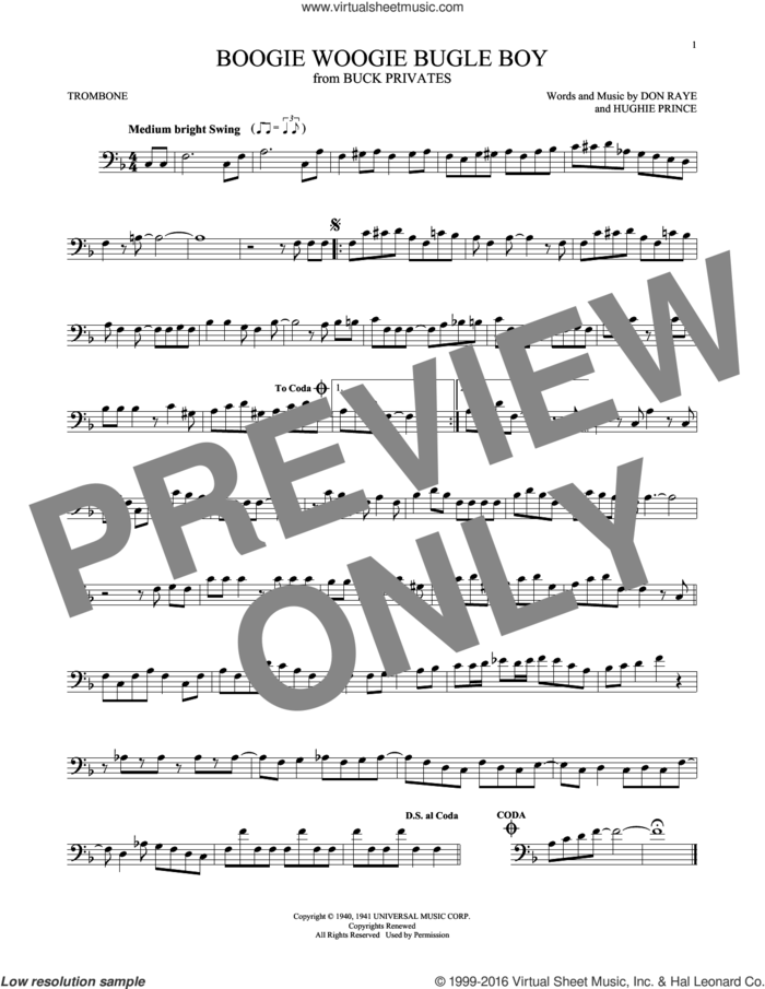 Boogie Woogie Bugle Boy sheet music for trombone solo by Andrews Sisters, Bette Midler, Don Raye and Hughie Prince, intermediate skill level