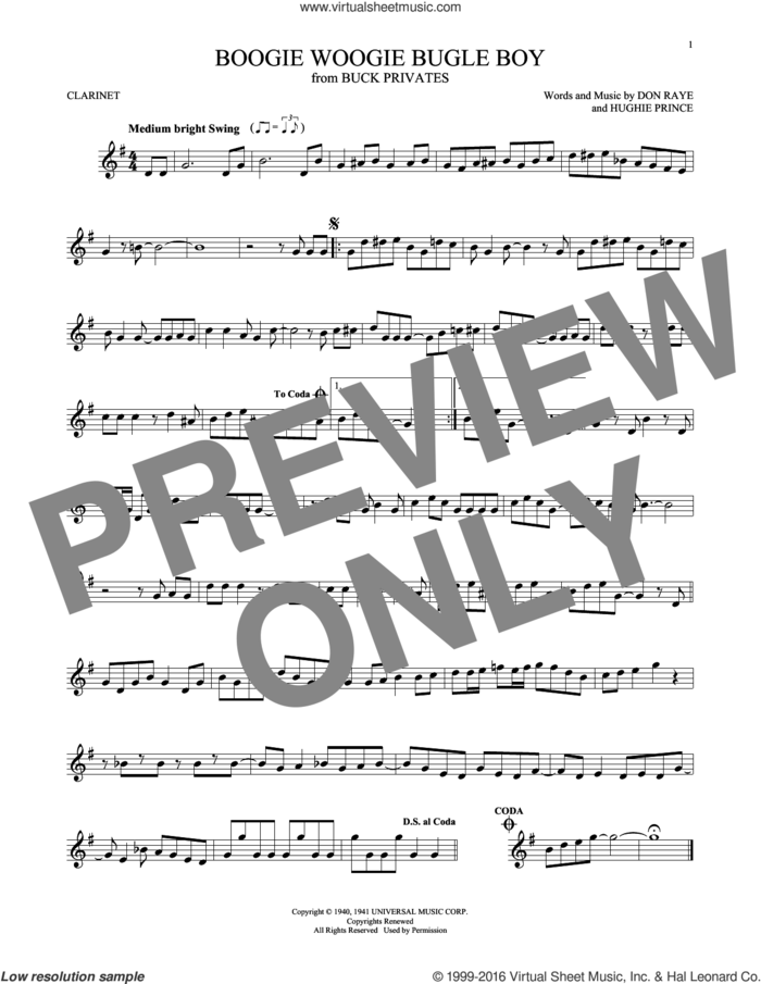 Boogie Woogie Bugle Boy sheet music for clarinet solo by Andrews Sisters, Bette Midler, Don Raye and Hughie Prince, intermediate skill level