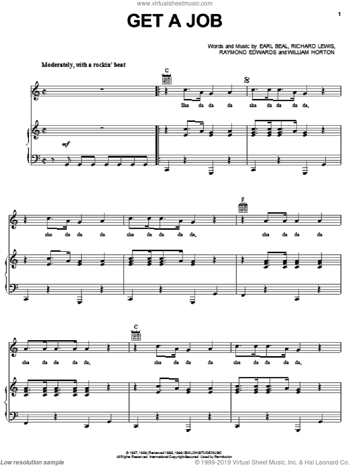 Get A Job sheet music for voice, piano or guitar by The Silhouettes, Earl Beal, Raymond Edwards, Richard Lewis and William Horton, intermediate skill level