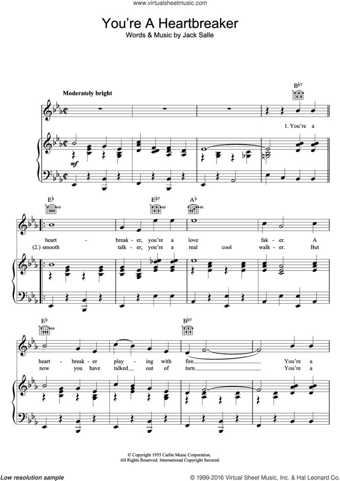 You're A Heartbreaker sheet music for voice, piano or guitar by Elvis Presley and Jack Sallee, intermediate skill level