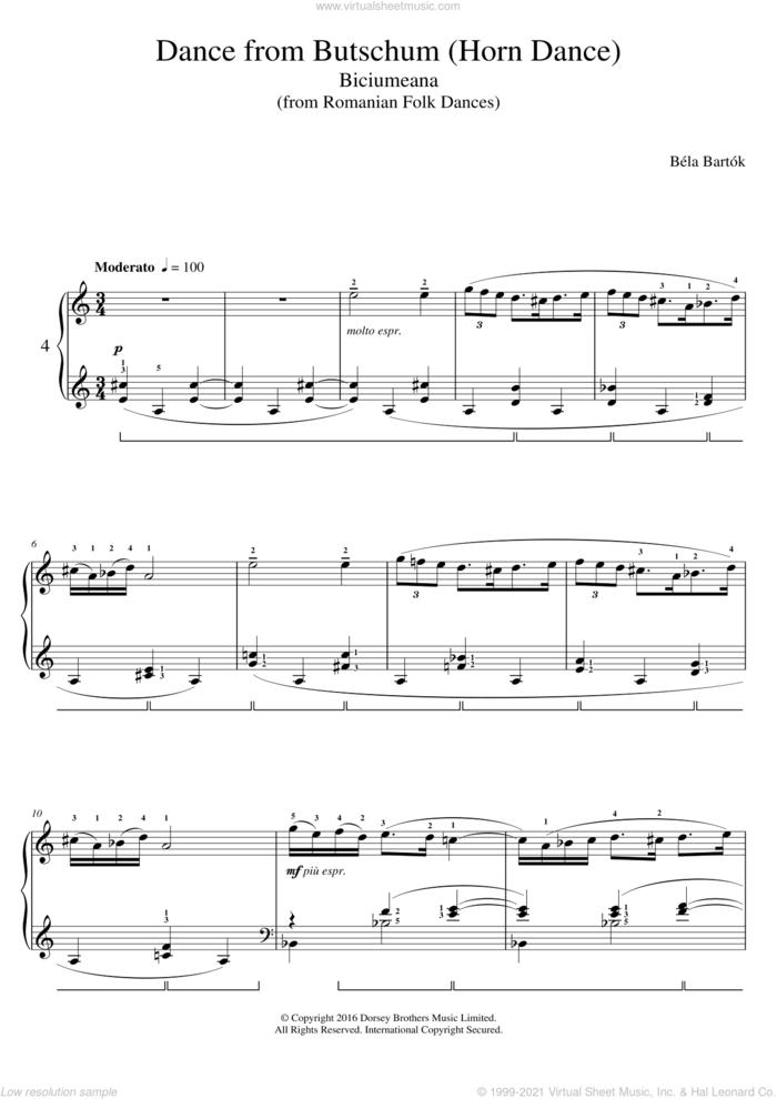 Dance From Butschum (from Romanian Folk Dances) sheet music for piano solo by Bela Bartok and Bela Bartok, classical score, intermediate skill level
