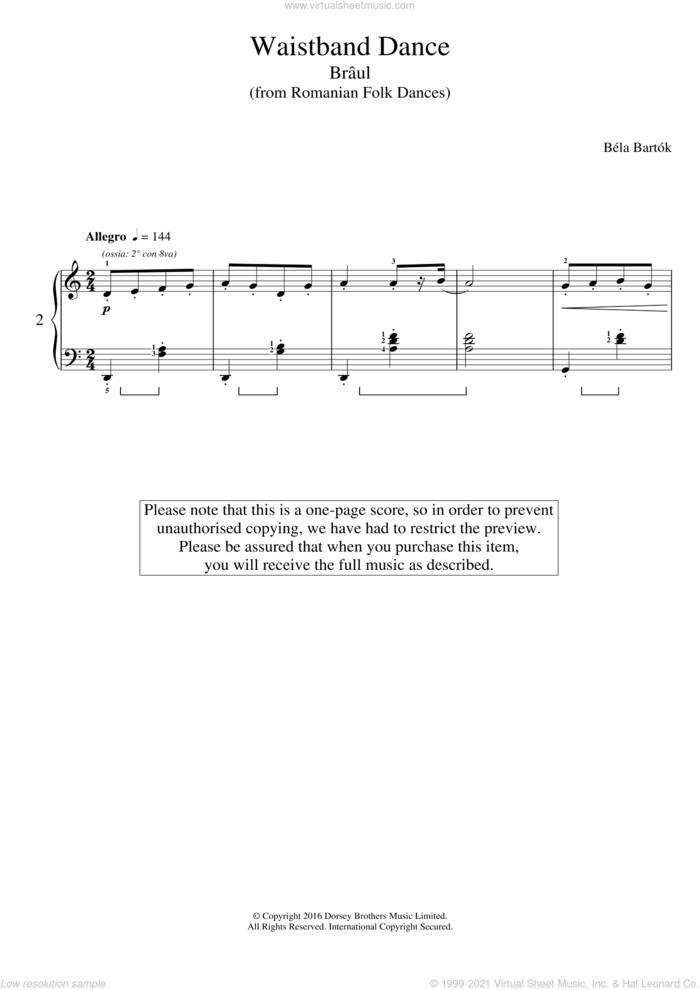 Waistband Dance (from Romanian Folk Dances) sheet music for piano solo by Bela Bartok and Bela Bartok, classical score, intermediate skill level