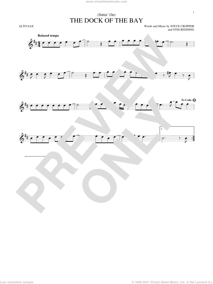 (Sittin' On) The Dock Of The Bay sheet music for alto saxophone solo by Otis Redding and Steve Cropper, intermediate skill level