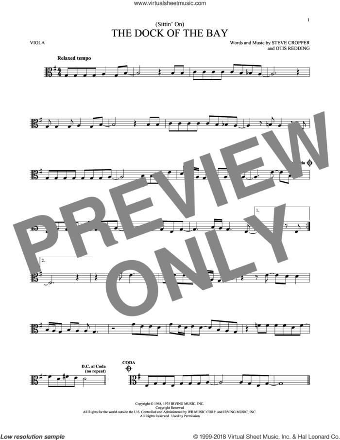 (Sittin' On) The Dock Of The Bay sheet music for viola solo by Otis Redding and Steve Cropper, intermediate skill level