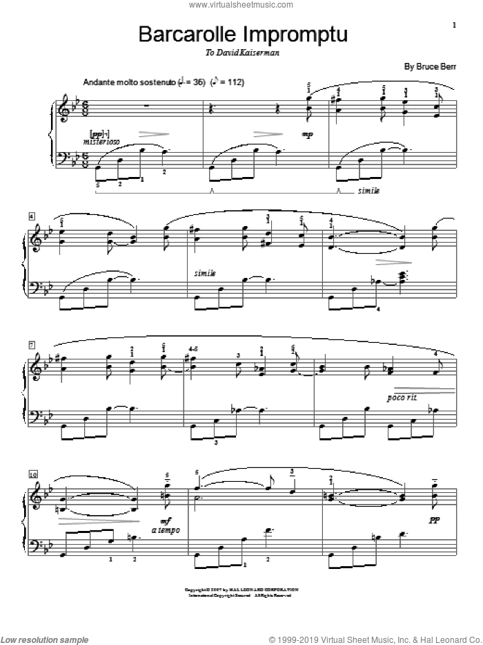 Barcarolle Impromptu sheet music for piano solo by Bruce Berr and Miscellaneous, classical score, intermediate skill level