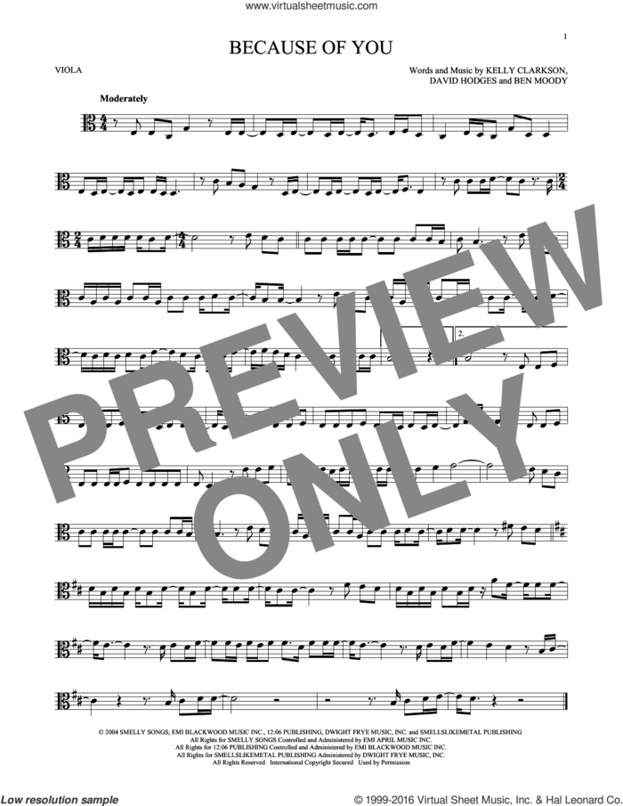 Because Of You sheet music for viola solo by Kelly Clarkson, Ben Moody and David Hodges, intermediate skill level
