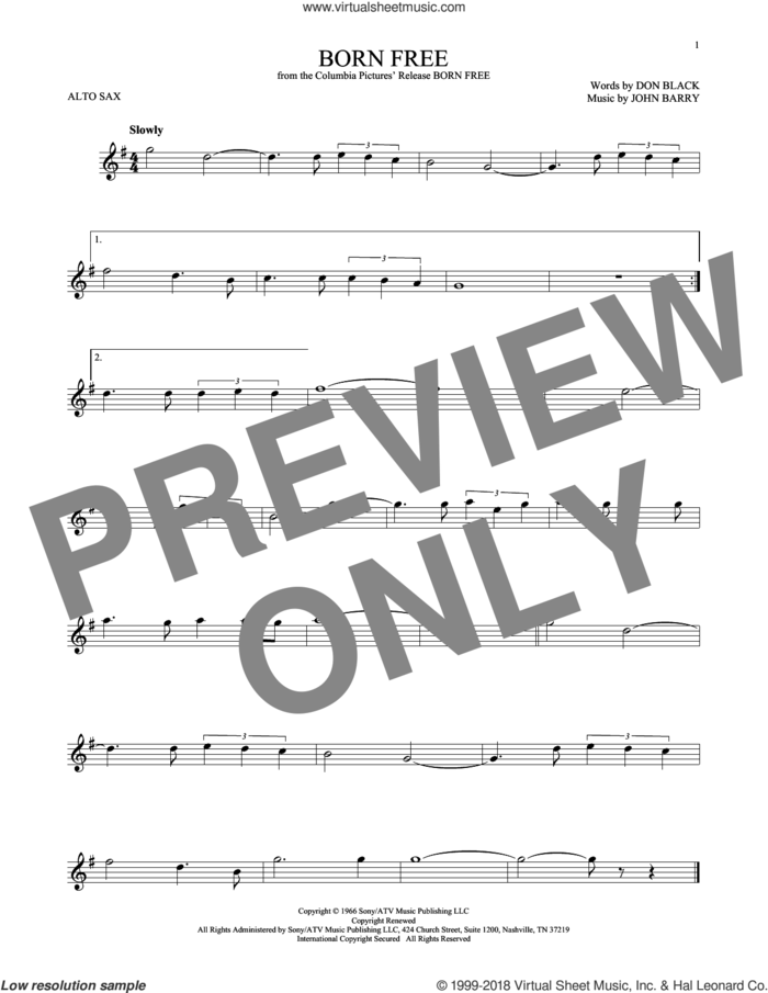 Born Free sheet music for alto saxophone solo by Don Black, Roger Williams and John Barry, intermediate skill level