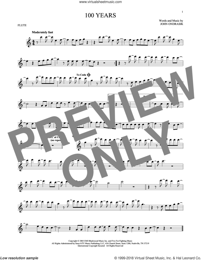 100 Years sheet music for flute solo by Five For Fighting and John Ondrasik, intermediate skill level