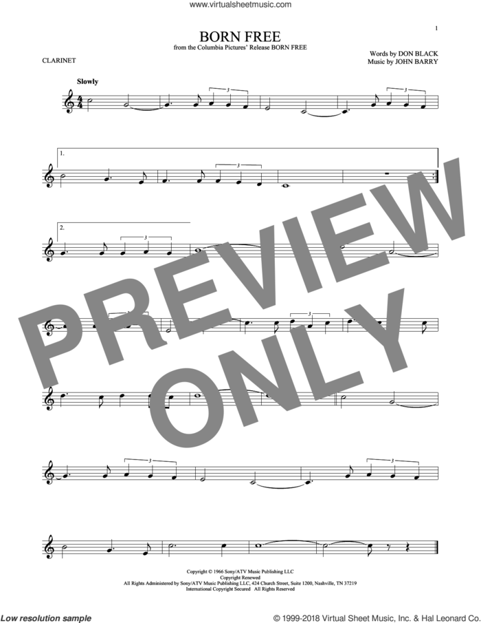 Born Free sheet music for clarinet solo by Don Black, Roger Williams and John Barry, intermediate skill level