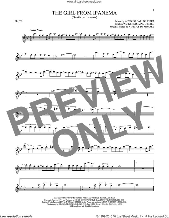 The Girl From Ipanema sheet music for flute solo by Norman Gimbel, Stan Getz & Astrud Gilberto, Antonio Carlos Jobim and Vinicius de Moraes, intermediate skill level