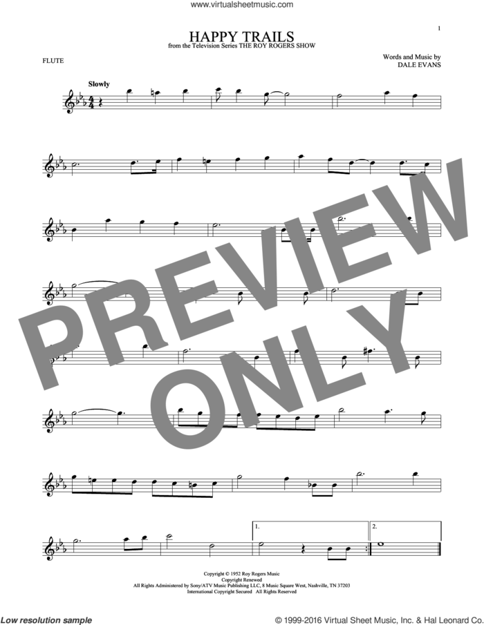 Happy Trails sheet music for flute solo by Roy Rogers and Dale Evans, intermediate skill level