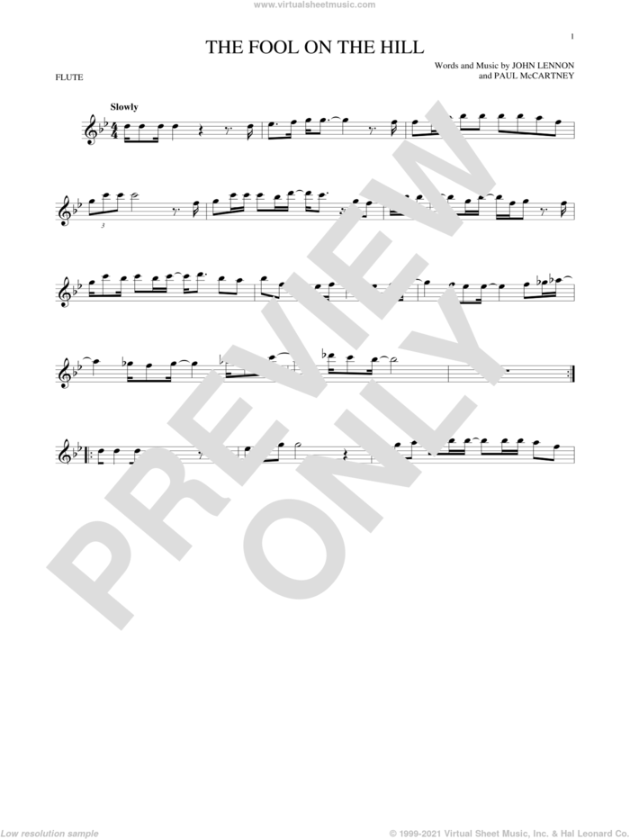 The Fool On The Hill sheet music for flute solo by The Beatles, John Lennon and Paul McCartney, intermediate skill level