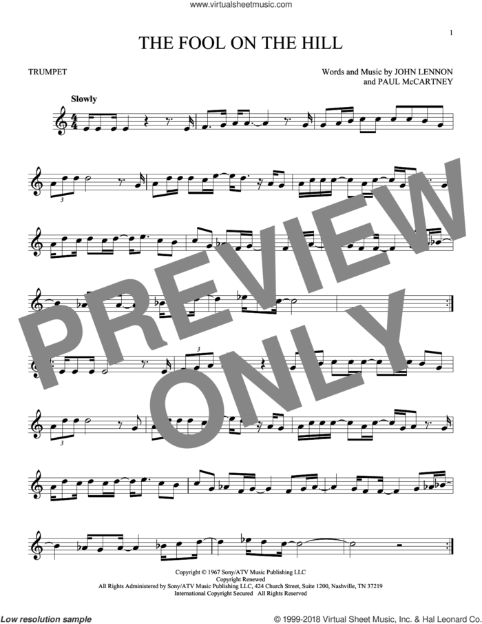The Fool On The Hill sheet music for trumpet solo by The Beatles, John Lennon and Paul McCartney, intermediate skill level