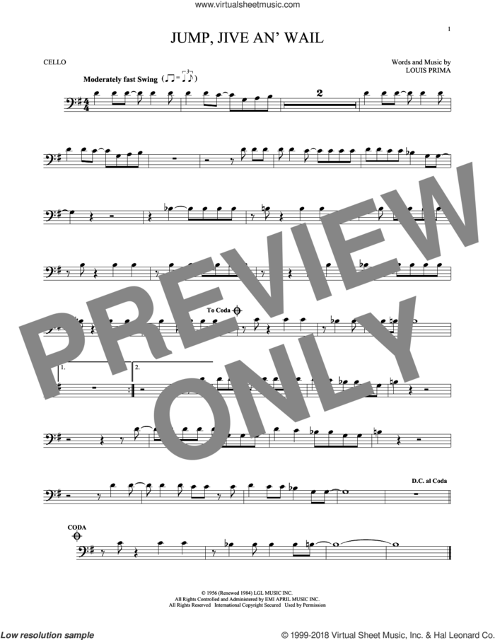 Jump, Jive An' Wail sheet music for cello solo by Louis Prima and Brian Setzer, intermediate skill level