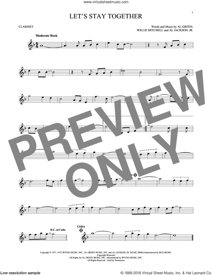 Let's Stay Together sheet music for clarinet solo by Al Green, Al Jackson, Jr. and Willie Mitchell, intermediate skill level