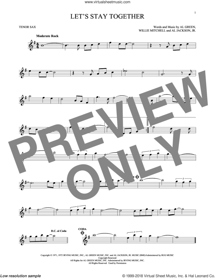 Let's Stay Together sheet music for tenor saxophone solo by Al Green, Al Jackson, Jr. and Willie Mitchell, intermediate skill level