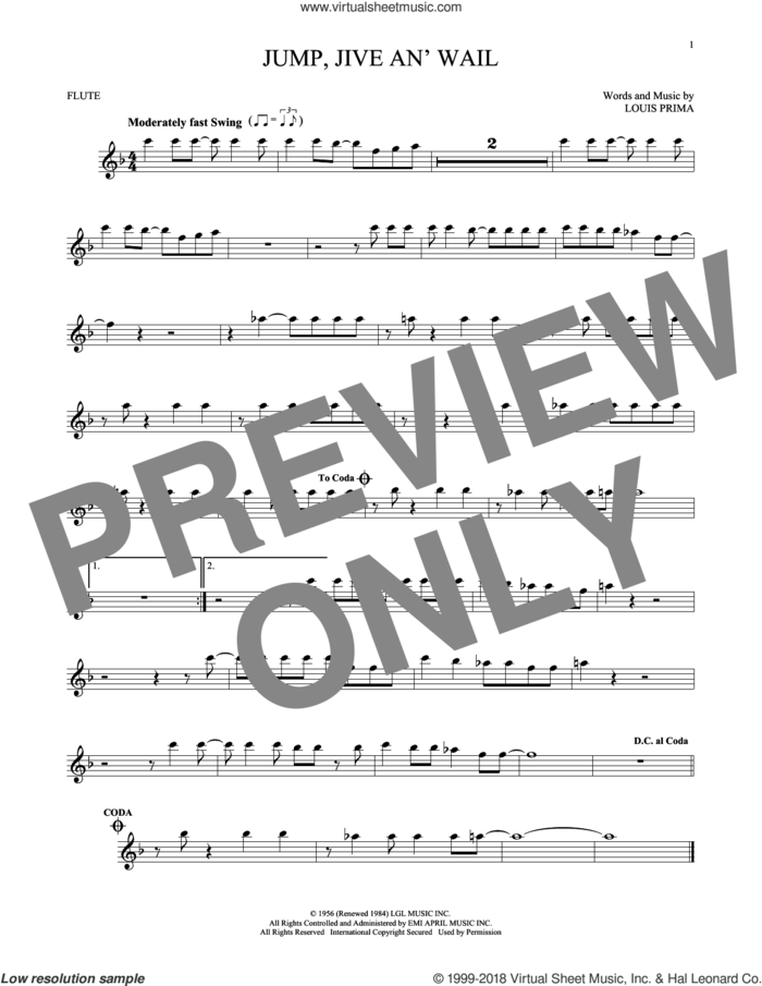 Jump, Jive An' Wail sheet music for flute solo by Louis Prima and Brian Setzer, intermediate skill level