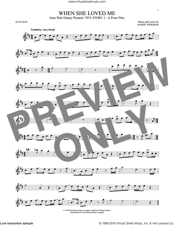 When She Loved Me (from Toy Story 2) sheet music for alto saxophone solo by Sarah McLachlan and Randy Newman, intermediate skill level