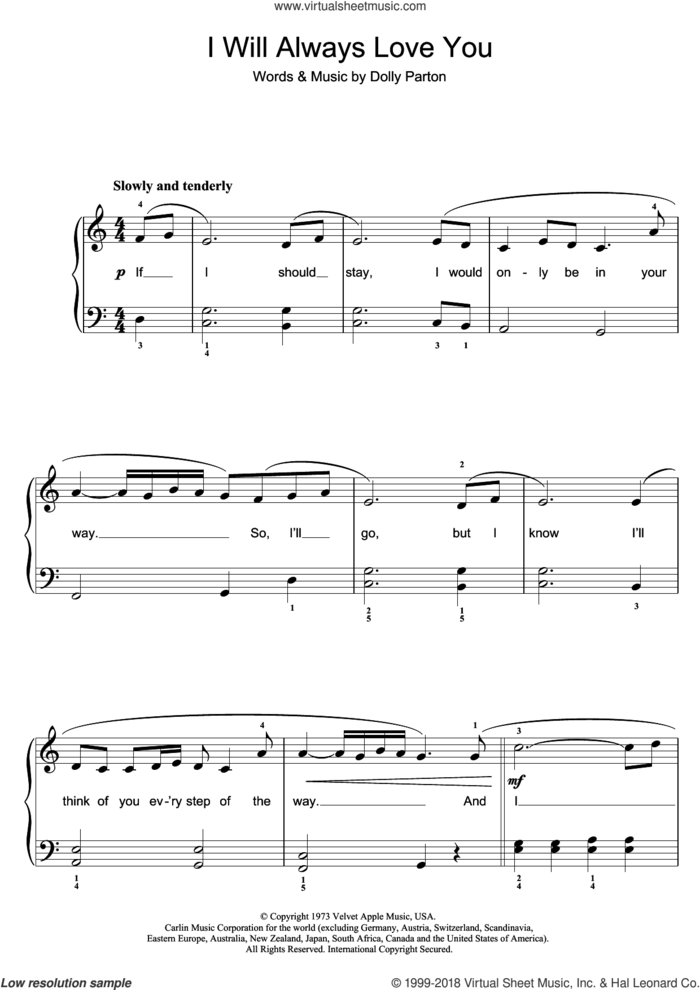 I Will Always Love You sheet music for piano solo (beginners) by Whitney Houston and Dolly Parton, beginner piano (beginners)