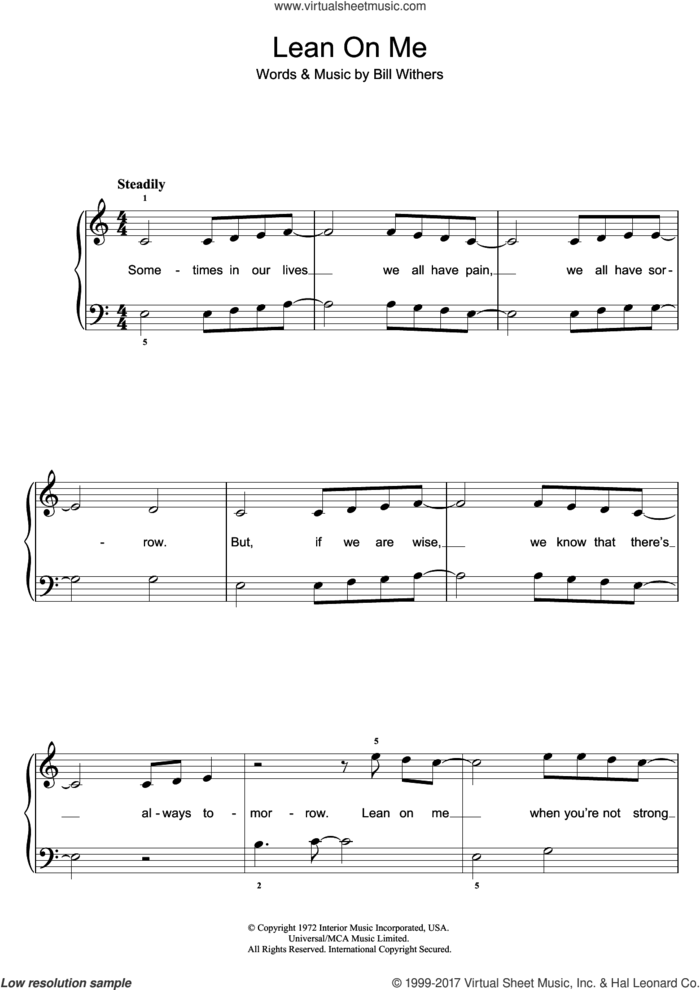 Lean On Me sheet music for piano solo by Bill Withers, easy skill level
