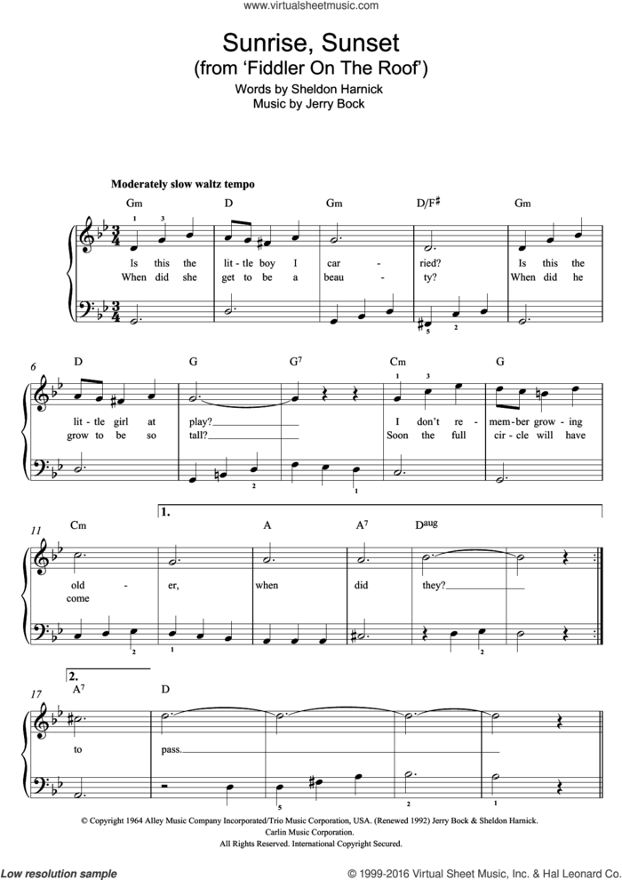 Sunrise, Sunset (from Fiddler On The Roof) sheet music for piano solo by Jerry Bock and Sheldon Harnick, easy skill level