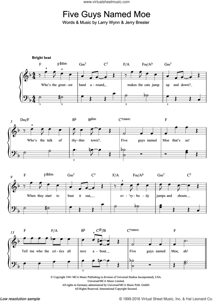 Five Guys Named Moe sheet music for piano solo by Louis Jordan, Jerry Bresler and Larry Wynn, easy skill level